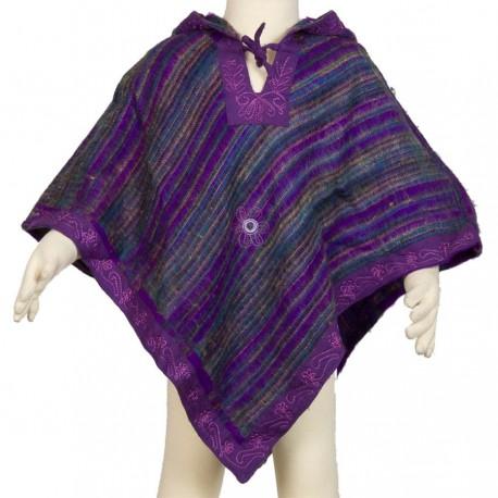 Poncho capuche pointue violet