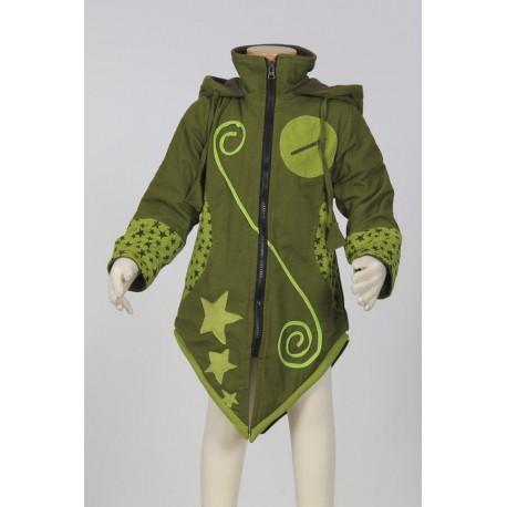 Abrigo etnico chica capucha puntiaguda verde caqui