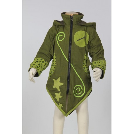Sharp hood girl ethnic coat green army