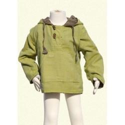 Sudadera poncho chaqueta capucha reversible verde limon