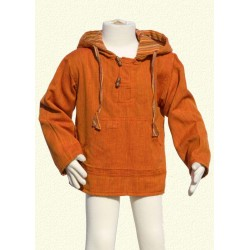 Poncho jumper hood jacket reversible orange
