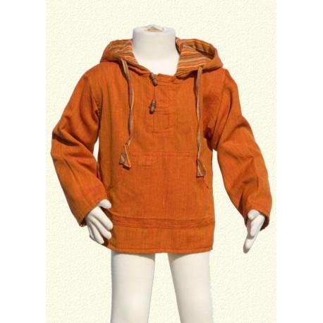 Sudadera poncho chaqueta capucha reversible naranja