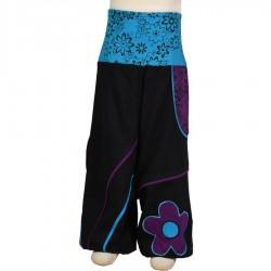 Sarouel fleur enfant jersey noir turquoise violet
