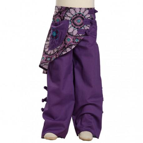 Pantalon ethnique indien surjupe violet