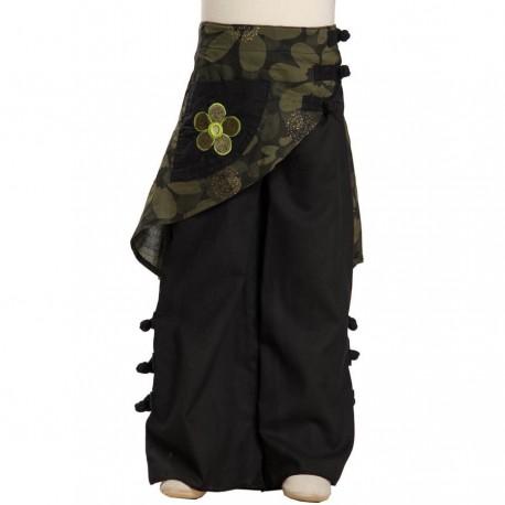 Pantalon ethnique fille surjupe noir