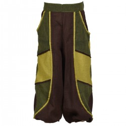 Kid baggy trousers army, lemon and brown