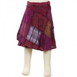 Falda chica etnica peteca patchwork violeta