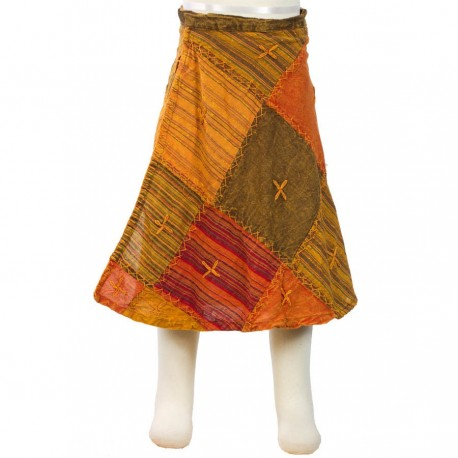 Jupe porte feuille fille orange