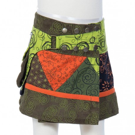 Hippy girl skirt evolutionary army green embroidered spiral