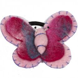 Elastique cheveux papillon rose