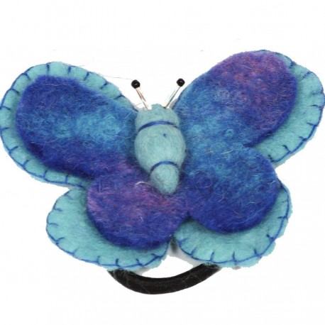 Hair rubber band elastic butterfly blue