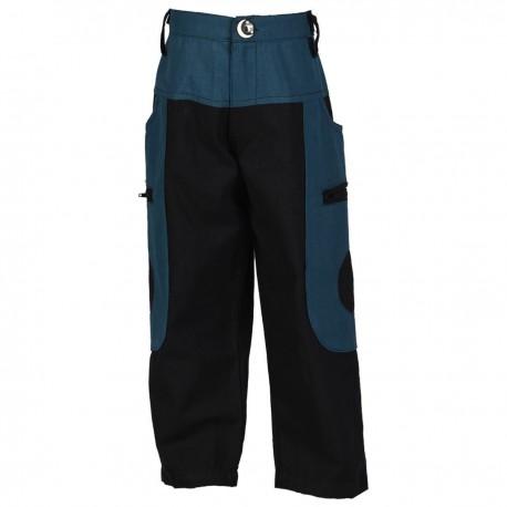 Pantalon baggy ethnique bleu pétrole et noir