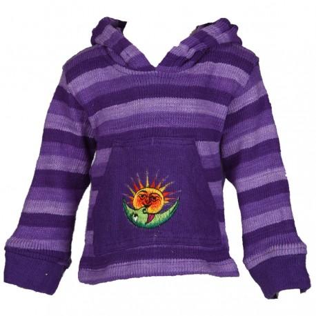 Sweatshirt pompon mauve 2ans