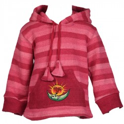Stripe pink sharp hood sweatshirt 3years
