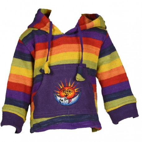 Sweat shirt capuche pompon arcenciel 3ans