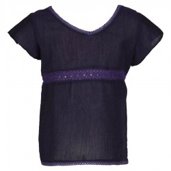 Short sleeves ethnic tee shirt purple