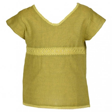 Tee shirt fille ethnique manches courtes vert anis