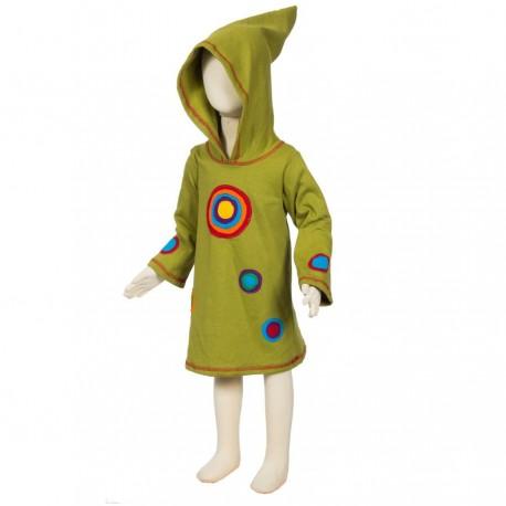 Psychedelic dress sharp hood lemon green