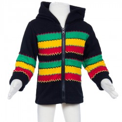 Rasta kid jacket lined polar black green yellow red