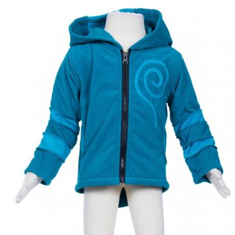 Ethnic kid polar jacket spride hood petrol turquoise