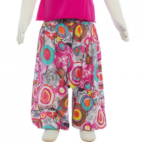 Indian cotton afghan trouser rubber waist pink