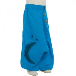 Kid hippy afhan trouser embroidered moon turquoise