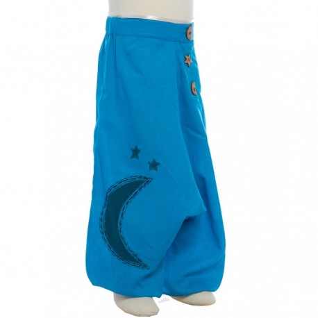 Sarouel babacool enfant brode lune turquoise
