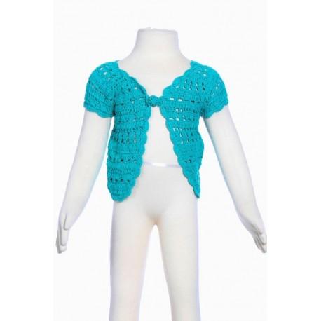 Gilet court fille crochet fait main turquoise