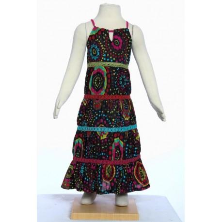 Vestido chica larga bohemia hippie algodon india negro