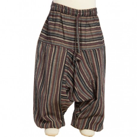 Boy stripe afghan trousers traditional cotton black brown