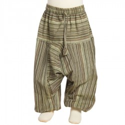 Boy stripe afghan trousers traditional cotton brown army green