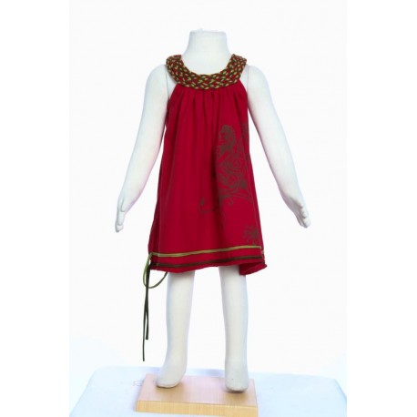 Robe fille baba cool col rond tresse fee imprimee rouge