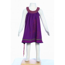 Hippy girl dress round collar printed fairy purple