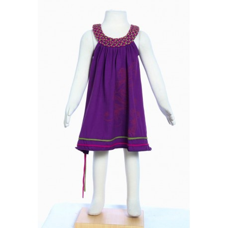 Robe fille baba cool col rond tresse fee imprimee violet
