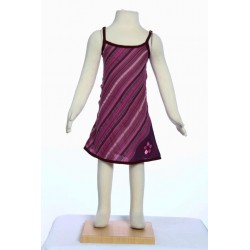 Hippy stripe dress embroidered flower violet