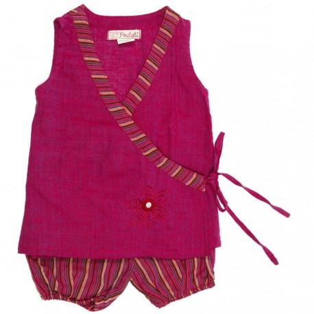 Tunica corazon cruzado pantalon corto amplio violeta