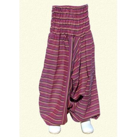 Pantalon afgano chica rayado violeta    12anos