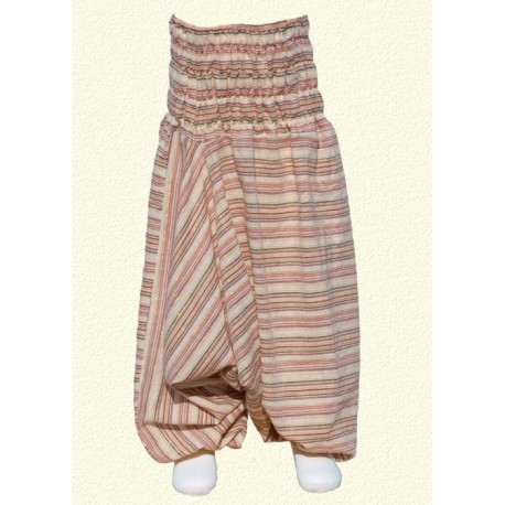 Baby afghan trousers stripe beige 18months