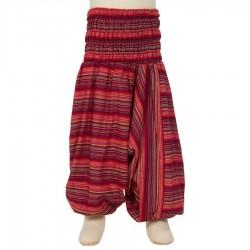Pantalon afgano chica rayado rojo     10anos