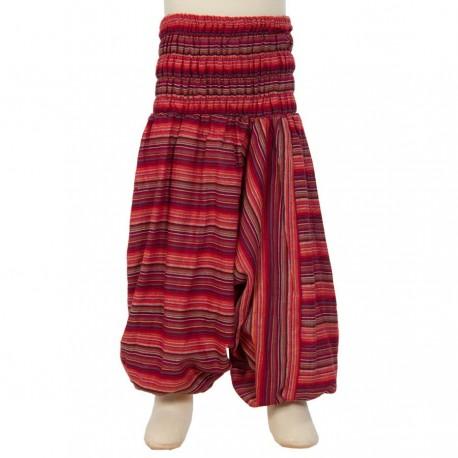 Sarouel Népal ethnique rayé rouge     8ans