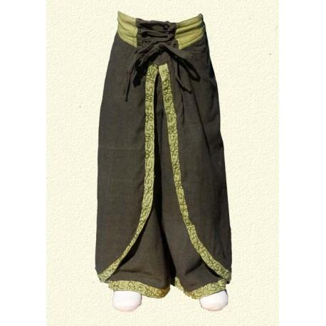 Pantalon princesse népalaise vert kaki 12-18mois