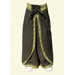 Pantalones nepales princesa india verde caqui 3-4anos