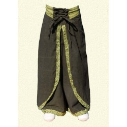 Pantalon princesse ethnique vert kaki 12-13ans