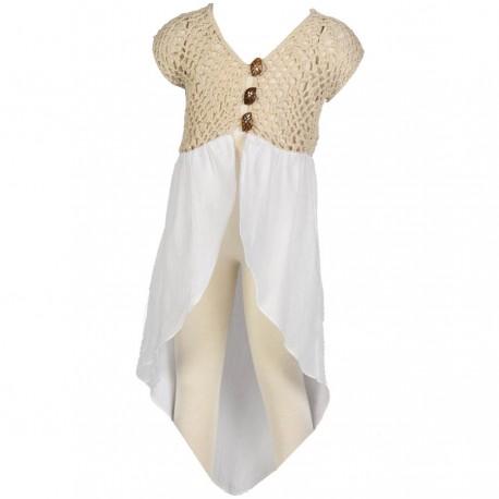 Girl long vest handmade hook white