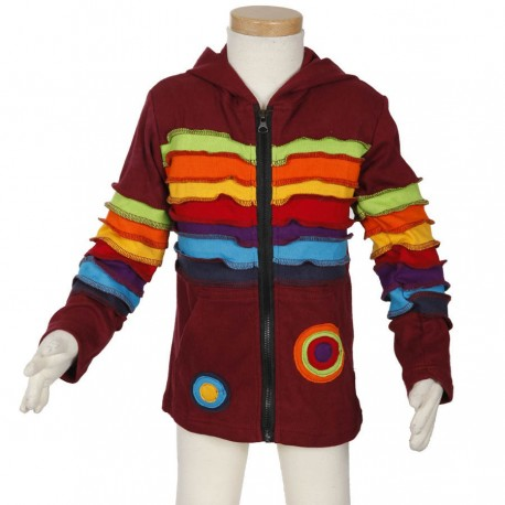Kid ethnic jacket rainbow darkred