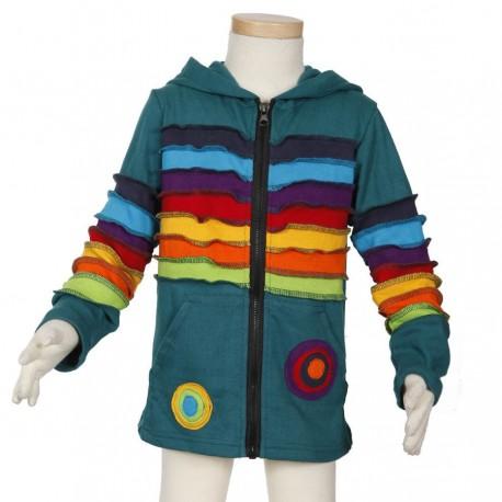 Kid ethnic jacket rainbow petrol blue