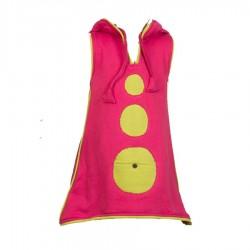 Robe tunique molletonnée rose et vert anis