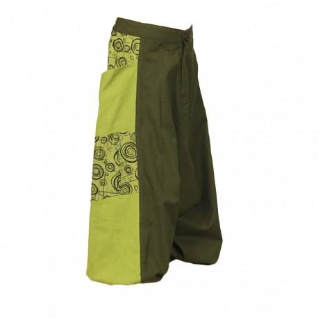 Pantalon afgano chica etnico estampado caqui y limon   14anos