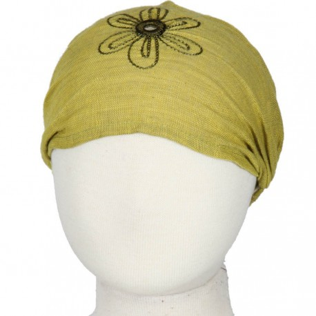 Hairband kid baby girl woman embroidered plain lemon green