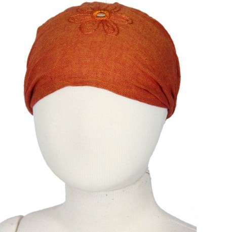 Hairband kid baby girl woman embroidered plain orange